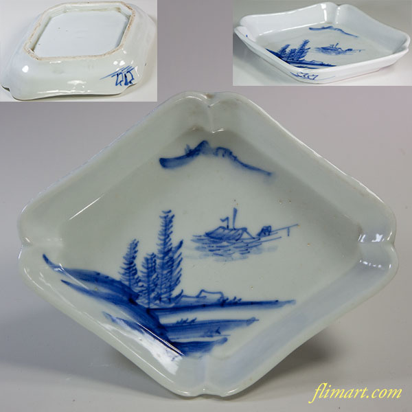 染付山水菱型小皿W6039