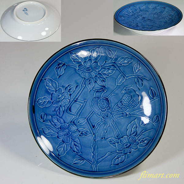 肥前哲三郎窯椿鳥文豆皿W6034