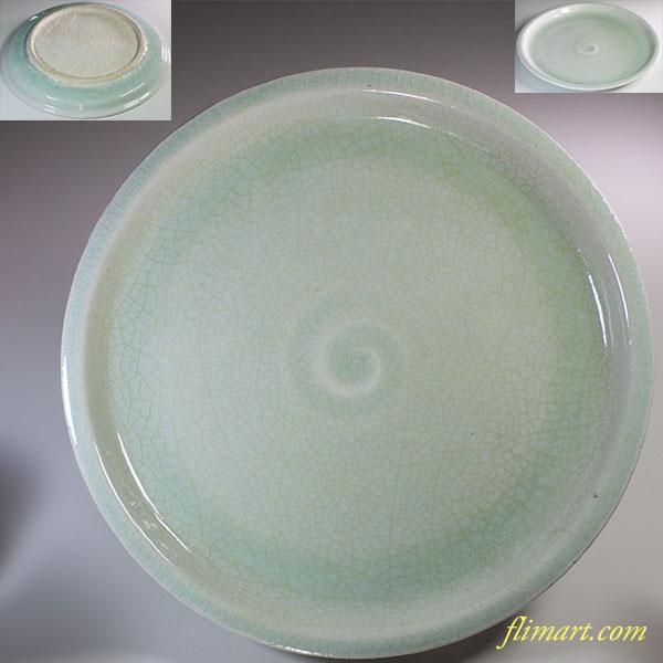 青磁八寸半皿W6092