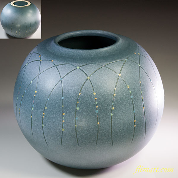 信楽焼丸花瓶W6074