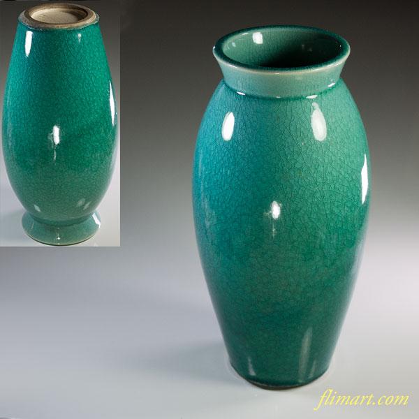 緑釉貫入花瓶W6109