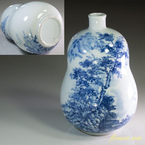 染付山水瓢箪型花瓶