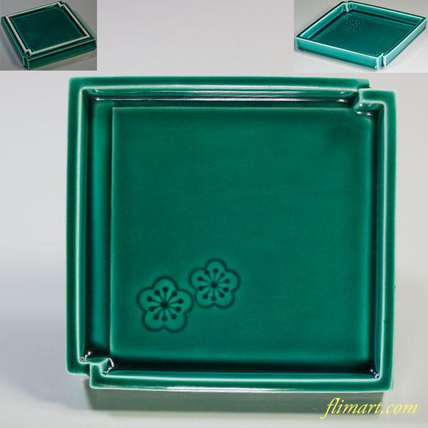 緑交趾梅紋銘々皿