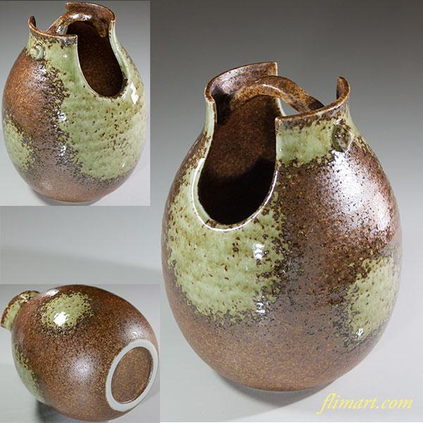 信楽手桶花瓶W6137