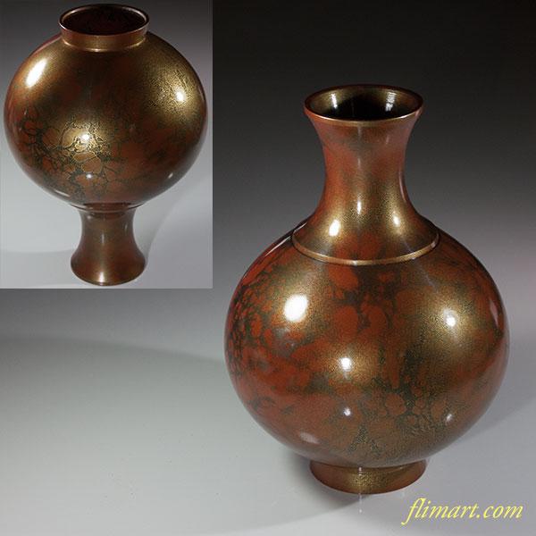 峰雲鋳銅花瓶