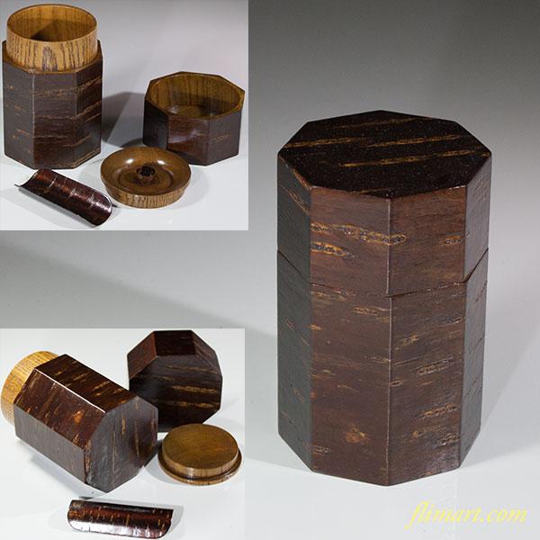 欅木地桜皮八角茶筒W6134