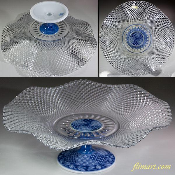 三洋陶器龍峰窯祥瑞フレアー高台クリスタルガラス盛り皿