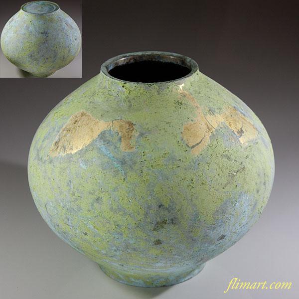 峰雲純金箔鋳銅花瓶