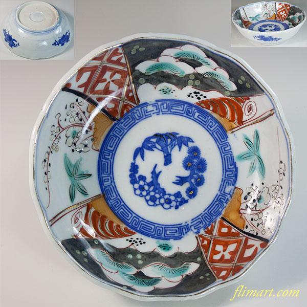 色絵松竹梅膾皿W6190