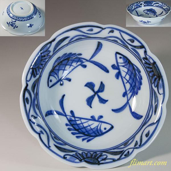 三峰魚紋小鉢W6198