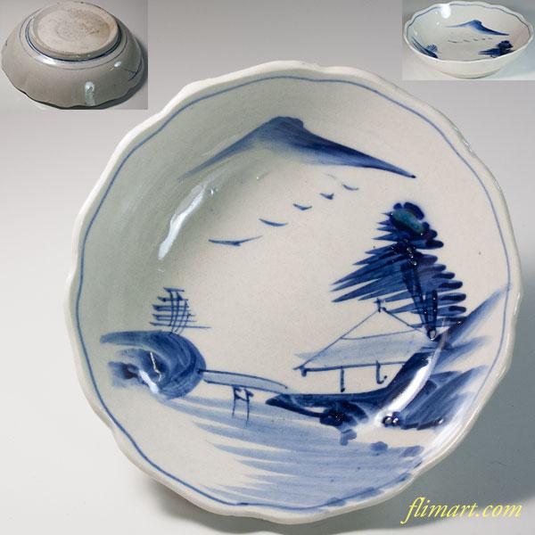 染付山水膾皿W6223