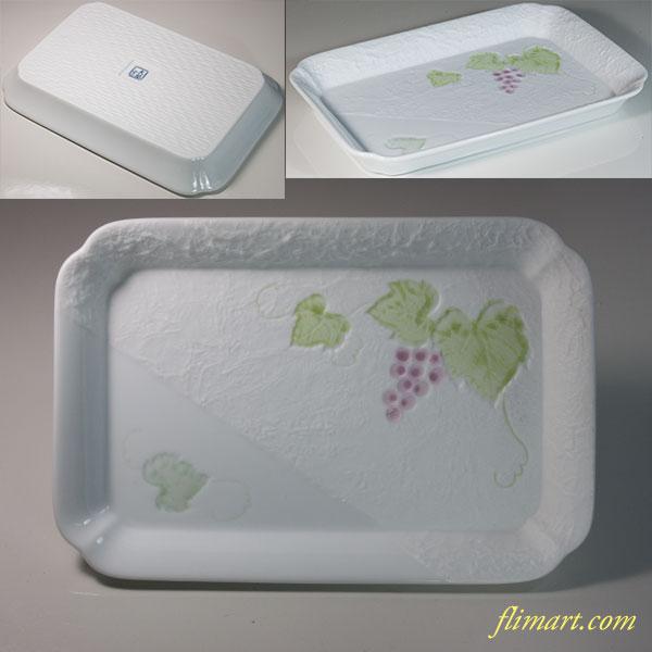 太閤窯白磁葡萄柄長皿
