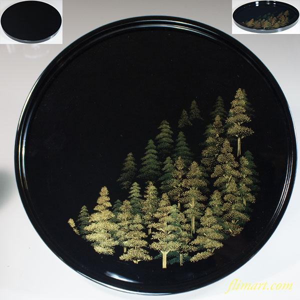 南山工房木製漆器黒塗蒔絵丸盆