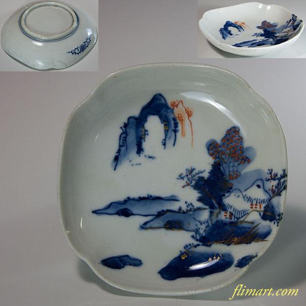 染付山水小皿W6243