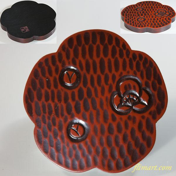 鎌倉彫梅型土瓶敷W6247