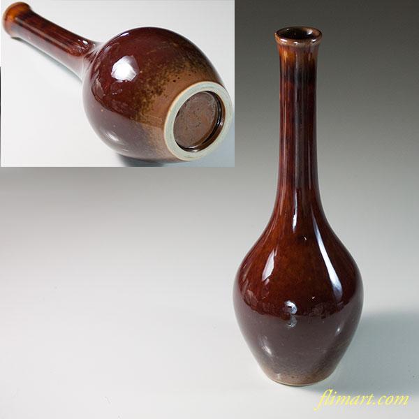 泉窯飴釉鶴首花瓶
