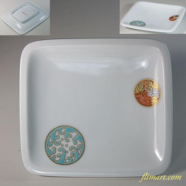 深川製磁寿赤絵角皿W6269