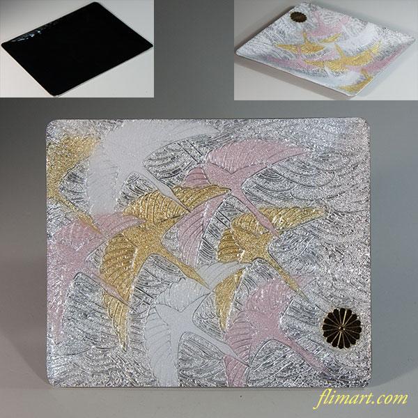 七宝鶴菊の御紋入銘々皿