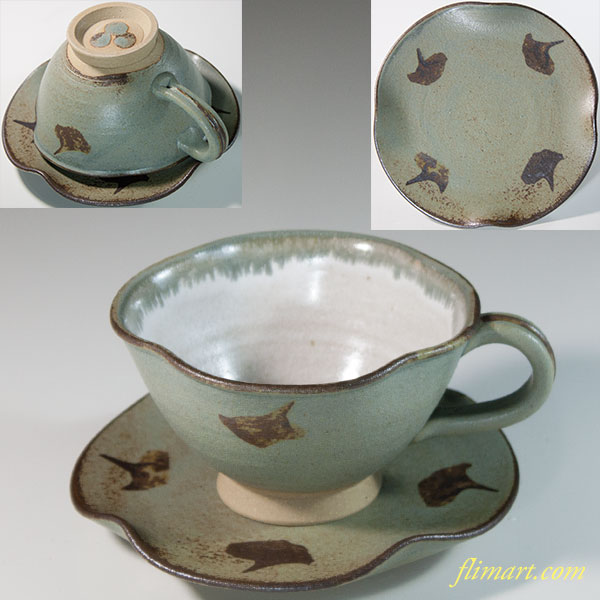 小糸焼花形珈琲碗皿W6307