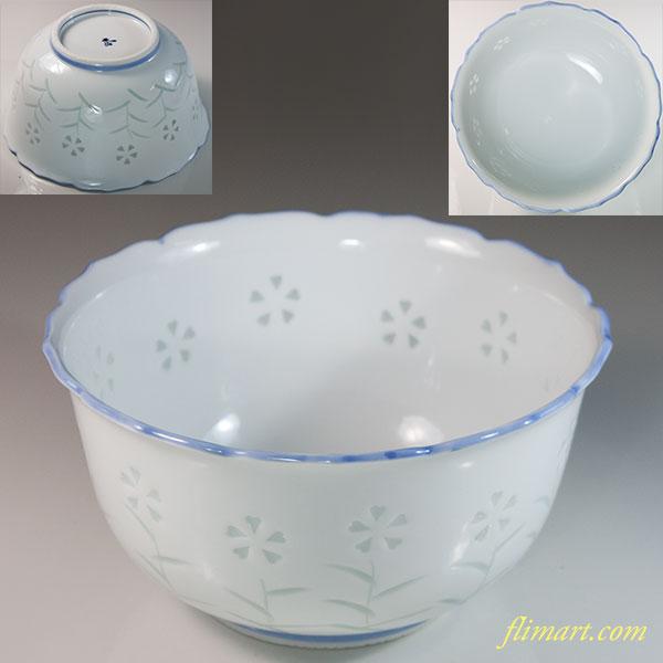 有田焼文山蛍撫子菓子鉢