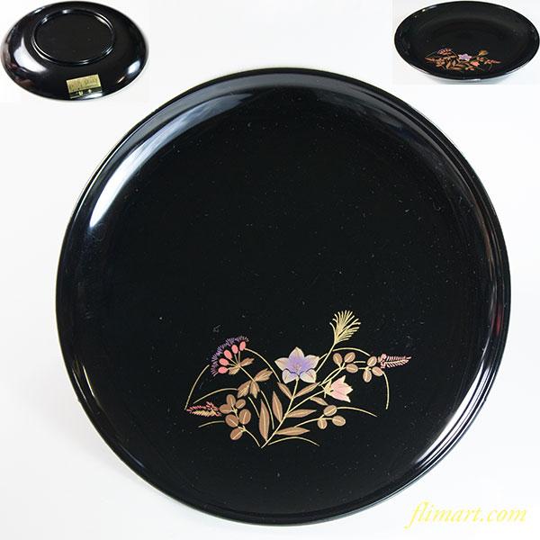 漆塗装黒塗秋草銘々皿W6366