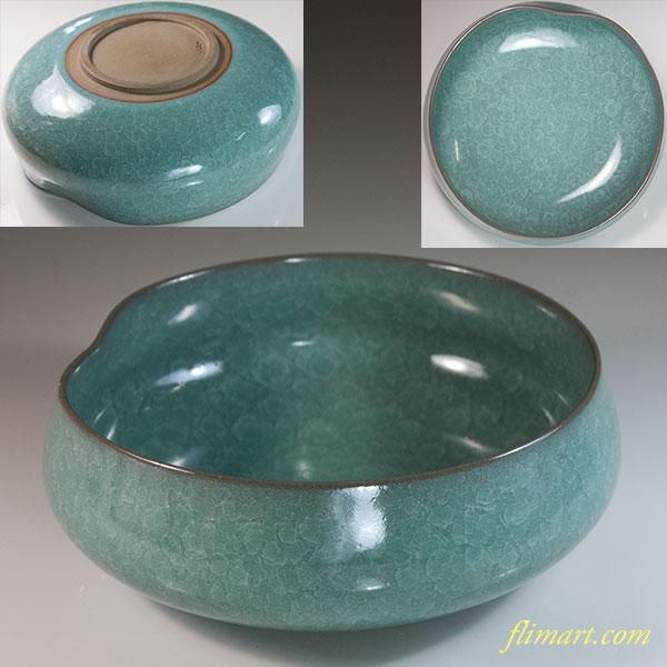 清山窯氷結貫入青磁菓子鉢
