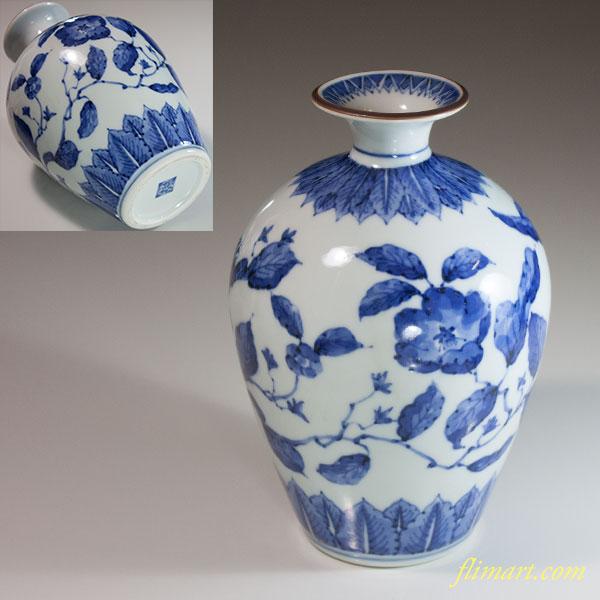 旭窯椿窯瀬戸染付花瓶
