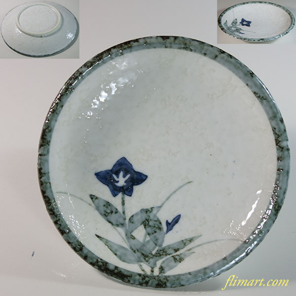 桔梗柄小皿W6367