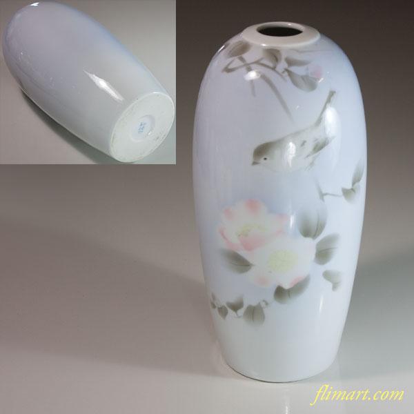 深川製磁椿鶯花瓶