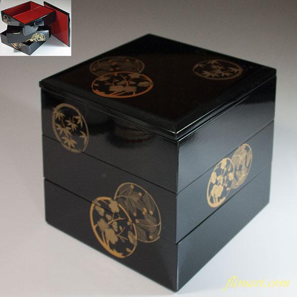 木製漆器会津塗花丸三段重