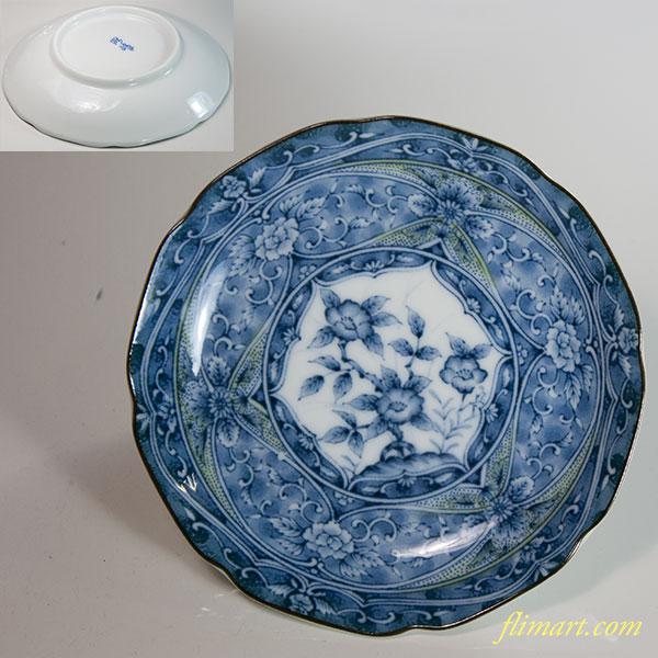 緑彩牡丹小皿W6468