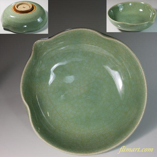 西灶青磁瓢箪型菓子鉢