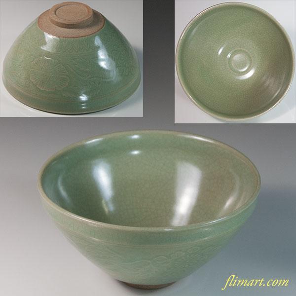 青磁抹茶碗W6431
