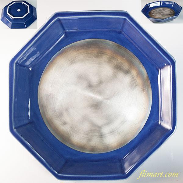 蔵珍窯紺釉銀彩八角皿