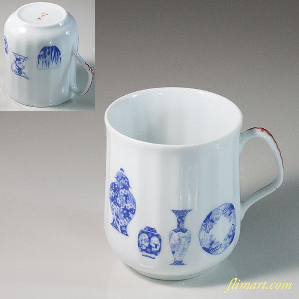 深川製磁ブルーチャイナマグカップ