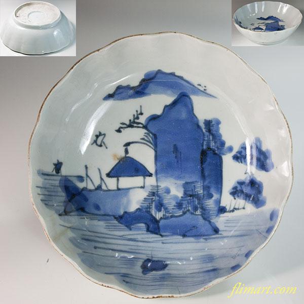 染付山水膾皿W6496