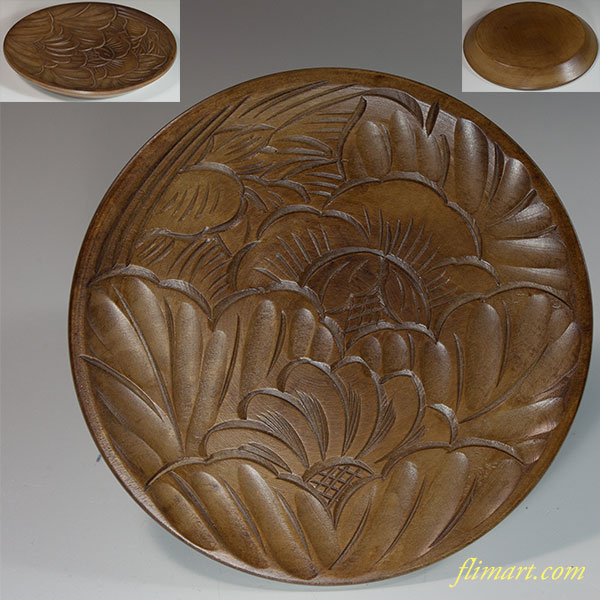 木製鎌倉彫小皿W6520