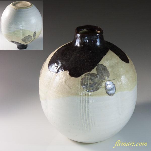 鉄釉花瓶花生W6530
