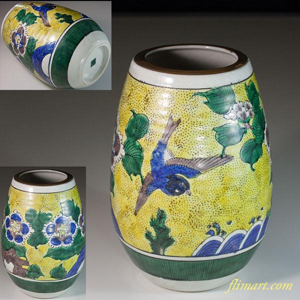 九谷焼吉田屋様式花瓶W6539
