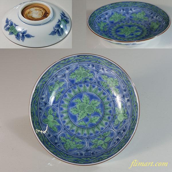 前畑陶器庫山窯青華緑彩豆皿
