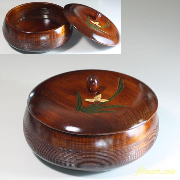 木製蓋付菓子器W6584