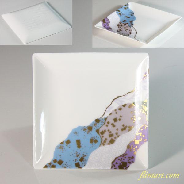 ちぎり絵豆皿W6583