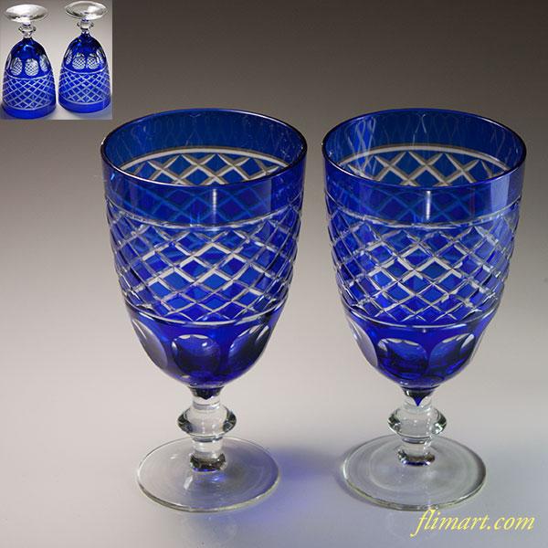 青被切子ワイングラスペアW6605