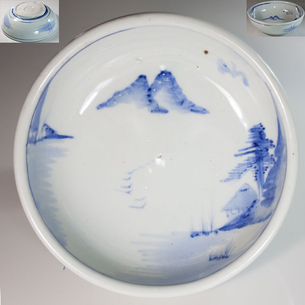 染付山水六寸鉢W6607