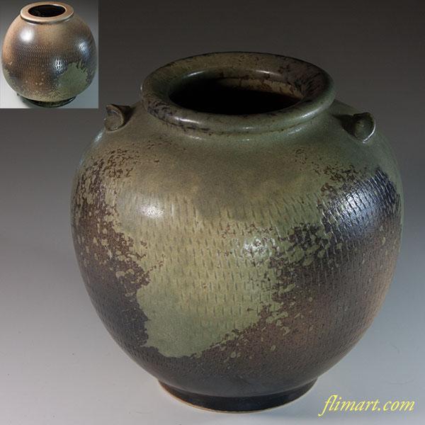 信楽焼孝山窯双耳花瓶