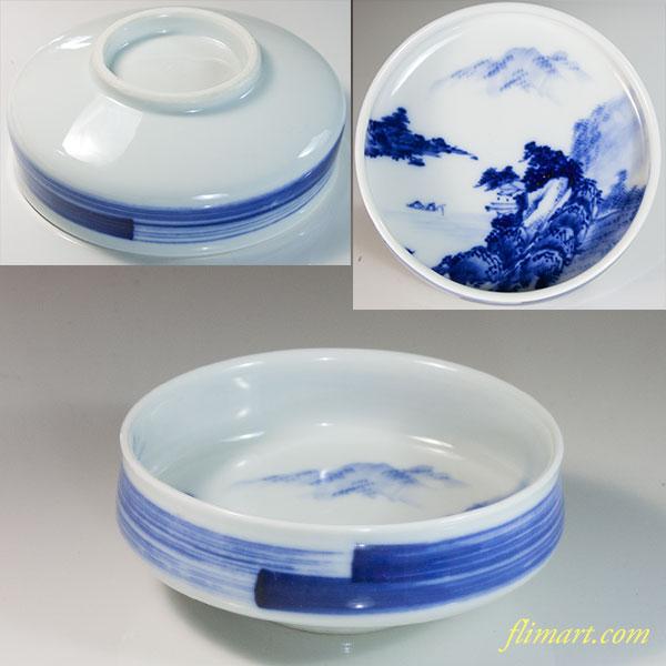 石泉染付山水小鉢