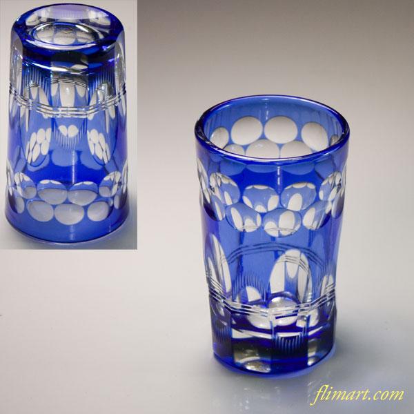 青被切子グラスW6636