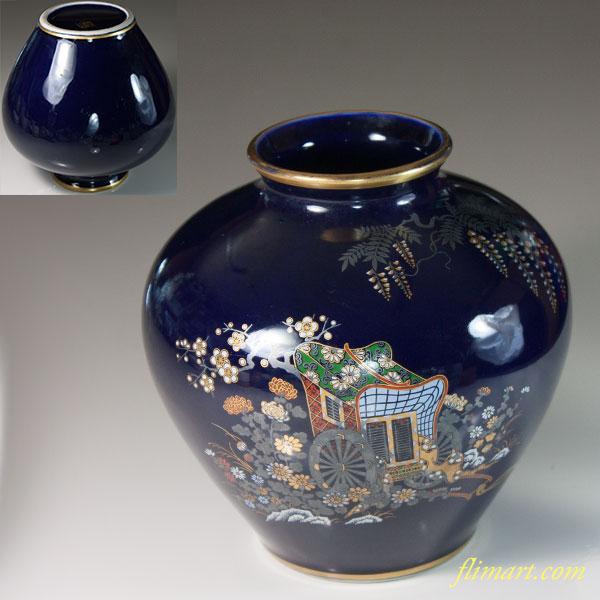周山瑠璃御所車花瓶