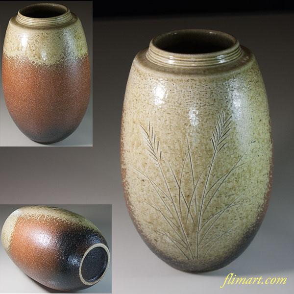 信楽焼紫峯花瓶