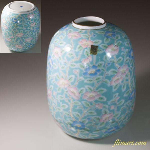 三洋陶器龍峯花柄花瓶W6689